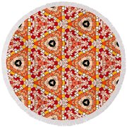 Seamlessly Tiled Kaleidoscopic Mosaic Pattern Round Beach Towel