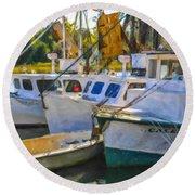 Shrimp Boats Round Beach Towel
