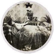 Sleeping Woman, C1900 Round Beach Towel