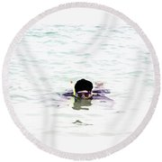 Snorkelling In The Lagoon Inside The Coral Reef Round Beach Towel