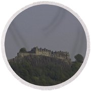 Stirling Castle Located At A Height Above The Surrounding Area Round Beach Towel