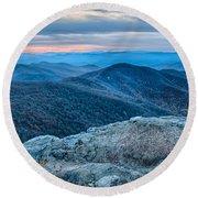 Sunset View Over Blue Ridge Mountains Round Beach Towel