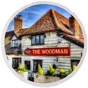 The Woodman Pub Round Beach Towel