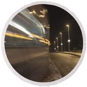 Tram At Night Round Beach Towel