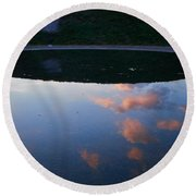 Up And Under Round Beach Towel