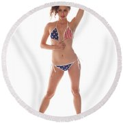 Usa Girl Round Beach Towel