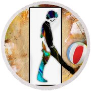 Walking Out Of Picture Frame Round Beach Towel