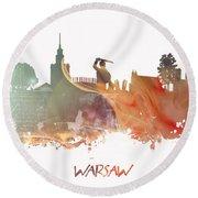 Warsaw City Skyline Round Beach Towel