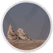 White Desert Round Beach Towel
