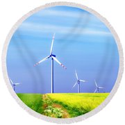Wind Turbines Round Beach Towel