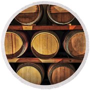 Wine Barrels Round Beach Towel by Elena Elisseeva