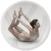 Yoga Bow Pose Round Beach Towel