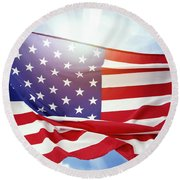 American Flag 55 Round Beach Towel
