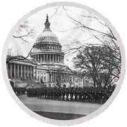 63rd Infantry Ready In Dc Round Beach Towel