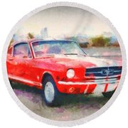 66 Mustang Gt 350 Round Beach Towel