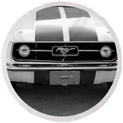 67 Mustang Front In Black Round Beach Towel