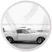 67 Mustang In Black Round Beach Towel