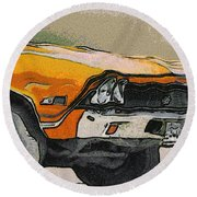 68 Chevelle Abstract Round Beach Towel