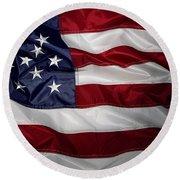 American Flag 52 Round Beach Towel