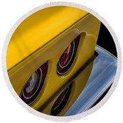 '69 Corvette Tail Lights Round Beach Towel