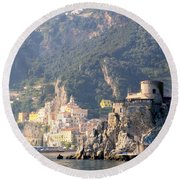 Views From The Amalfi Coast In Italy Round Beach Towel