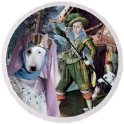 Bull Terrier Art Canvas Print Round Beach Towel