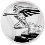 1935 Packard Hood Ornament -0295bw Round Beach Towel