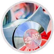 1960 Chevrolet Corvette Steering Wheel Emblem Round Beach Towel