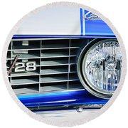 1969 Chevrolet Camaro Z-28 Grille Emblem Round Beach Towel