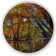 Alley With Falling Leaves In Fall Park Round Beach Towel