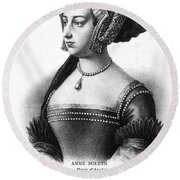 Anne Boleyn (1507-1536) Round Beach Towel