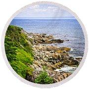 Atlantic Coast In Newfoundland Round Beach Towel