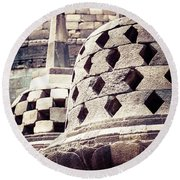 Borobudur Temple Round Beach Towel
