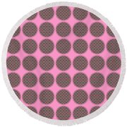 7 By 7 On Pink Round Beach Towel