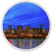 Chicago Skyline With Cubs World Series Round Beach Towel by Panoramic Images