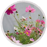 Close-up Of Flowers Round Beach Towel