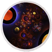 Computer Generated Sphere Abstract Fractal Flame Modern Art Round Beach Towel