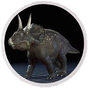 Dinosaur Diceratops Round Beach Towel