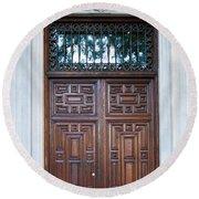 Distinctive Doors In Madrid Spain Round Beach Towel