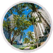 Downtown Miami Brickell Fisheye Round Beach Towel
