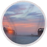 Ghost Ship Glowing Round Beach Towel