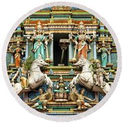 Hindu Temple With Indian Gods Kuala Lumpur Malaysia Round Beach Towel