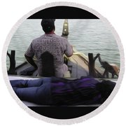 Lady Sleeping While Boatman Steers Round Beach Towel