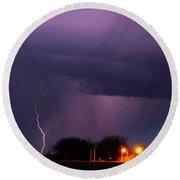 Late Evening Nebraska Thunderstorm Round Beach Towel
