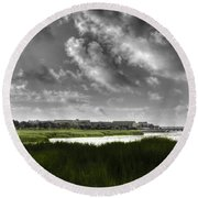 Southern Tall Marsh Grass Round Beach Towel