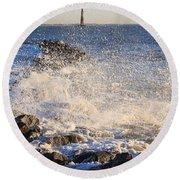 Morris Island Lighthouse Round Beach Towel