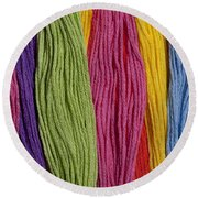 Multicolored Embroidery Thread In Rows Round Beach Towel