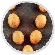 Organic Eggs Round Beach Towel by George Atsametakis