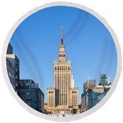 Palace Of Culture And Science In Warsaw Round Beach Towel