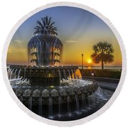 Pineapple Fountain At Sunrise Round Beach Towel